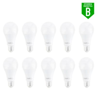 Pack x10 Foco LED Bulbo A60 10.5W E27 Luz Blanca