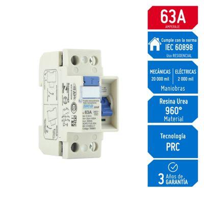 Interruptor Diferencial 2x63A Sica