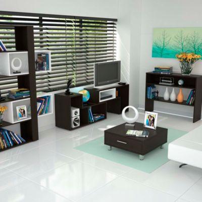 """Mesa TV Beiging 40"""" + Biblioteca 7 Repisas + Mesa de Centro + Arrimo"""