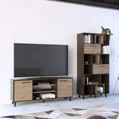 Mesa TV Kaia 65'' + Biblioteca 16 Repisas