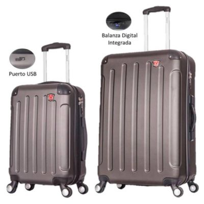 Bipack Maleta de 51 y 71cm Capacidad 10 y 23kg Plateado