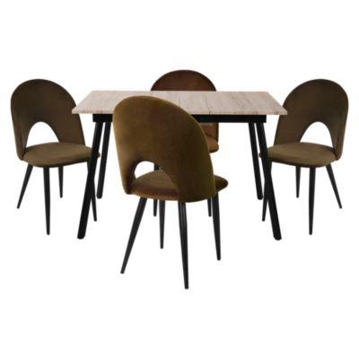 Mesa de Comedor Extensible 120-160x80x76cm + Set x 4 Sillas Oslo Café