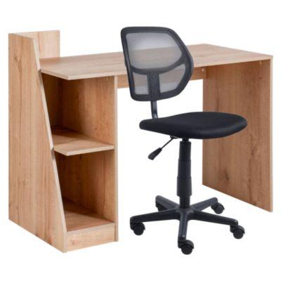 Escritorio de melamina con repisa + Silla de oficina Avignon negro HC Office