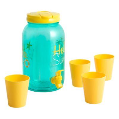Dispensador de plástico con 4 vasos Hello Summer