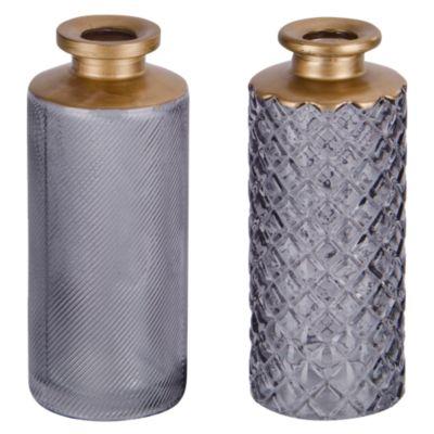 Botella Decorativa Texturada Humo 13cm