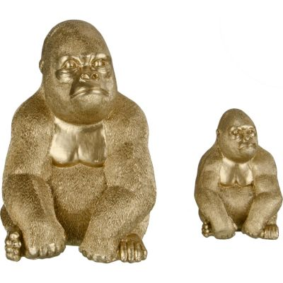 Figura Decorativa Gorila Dorado 22cm