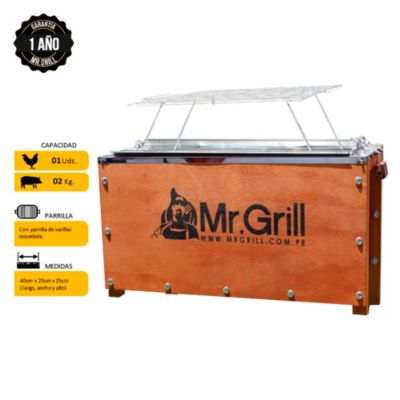 Caja China Mini S Natural Galvanizado + Parrilla de Varillas