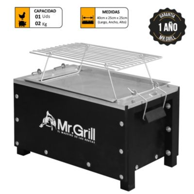 Caja China Mini S Black  Galvanizado + Parrilla de Varillas