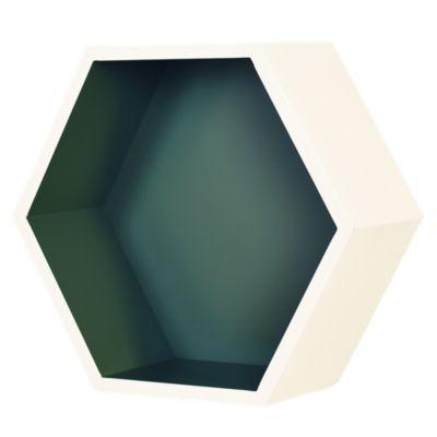 Repisa Hexagonal Blanca/Verde