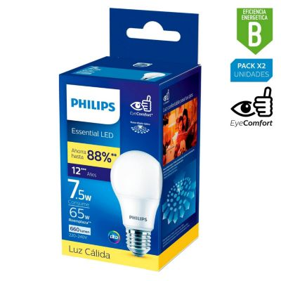 Foco LED Bulbo A60 E27 7.5W Luz Amarilla