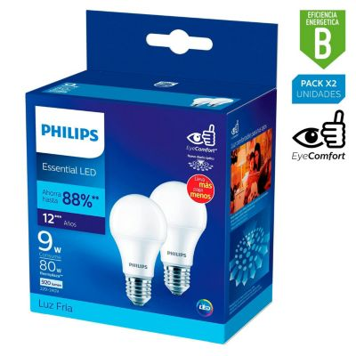 Pack x2 Foco LED Bulbo A60 E27 9W Luz Blanca