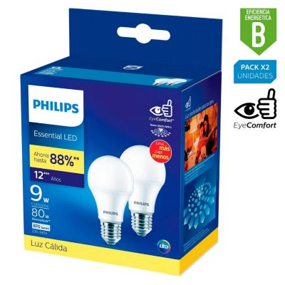 Pack x2 Foco LED Bulbo A60 E27 9W Luz Amarilla