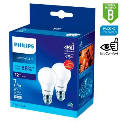 Pack x2 Foco LED Bulbo A60 E27 7.5W Luz Amarilla