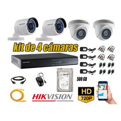 Kit 4 Cámaras de Seguridad  HD 720p disco 500GB Vigilancia + kit de herramientas Gratis