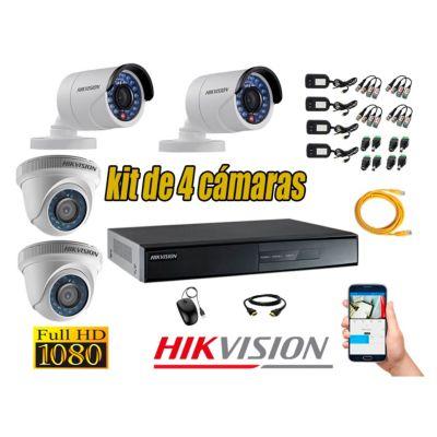 Kit 4 Cámaras de Seguridad FULL HD 1080P Vigilancia + Kit de herramientas Gratis