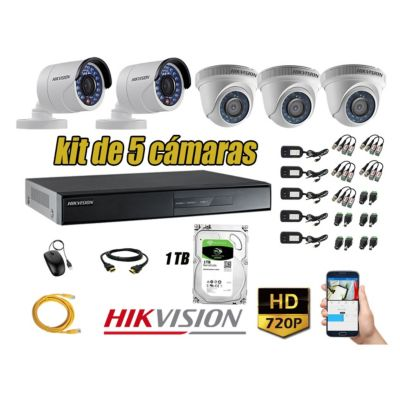 Kit 5 Cámaras de Seguridad  HD 720p Disco 1TB Vigilancia + Kit de herramientas Gratis