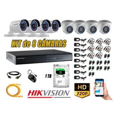Kit 8 Cámaras de Seguridad  HD 720p Disco 1TB Vigilancia + Kit de herramientas Gratis