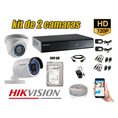 Kit 2 Cámaras de Seguridad  HD 720p Disco 500GB  Vigilancia + Kit de Herramientas Gratis