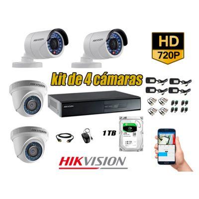 Kit 4 Cámaras de Seguridad  HD 720p Disco 1TB Vigilancia + Kit de Herramientas Gratis