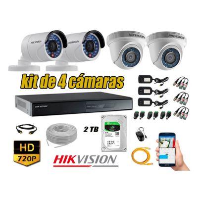 Kit 4 Cámaras de Seguridad  HD 720p Disco 2TB Vigilancia + Kit de Herramientas Gratis
