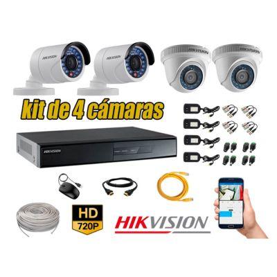 Kit 4 Cámaras de Seguridad  Hd 720p CABLE 80M Vigilancia + Kit de Herramientas Gratis