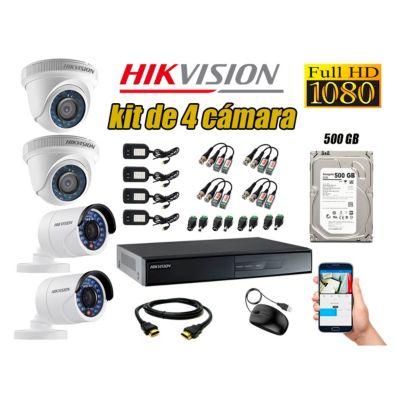Kit 4 Cámaras de Seguridad  Full HD 1080p Disco 500GB Vigilancia + Kit de Herramientas Gratis