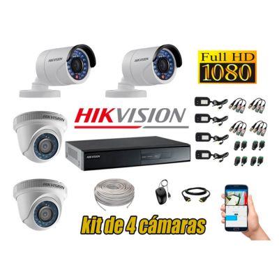 Kit 4 Cámaras de Seguridad  Full HD 1080p P2P Vigilancia + Kit de Herramientas Gratis