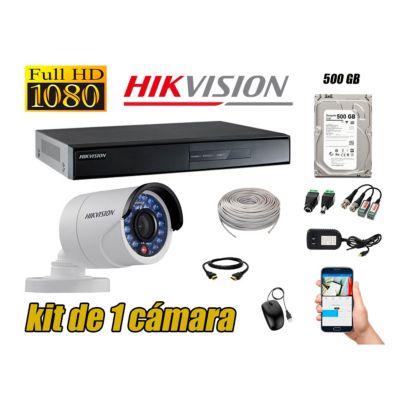 Kit 1 Cámaras de Seguridad Full HD 720p Disco 500GB Vigilancia + Kit de Herramientas Gratis