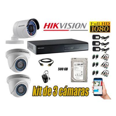 Kit 3 Cámaras de Seguridad  Full HD 1080p Disco 500GB Vigilancia + Kit de Herramientas Gratis