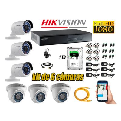 Kit 6 Cámaras de Seguridad  Full HD 1080p Disco 1TB Vigilancia + Kit de Herramientas Gratis