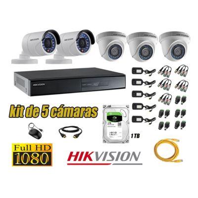 Kit 5 Cámaras de Seguridad  Full HD 1080p Disco 1TB Vigilancia + Kit de Herramientas Gratis
