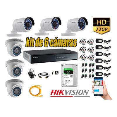 Kit 6 Cámaras de Seguridad  HD 720p disco 1TB Vigilancia + Kit de Herramientas Gratis