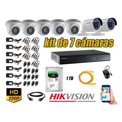 Kit 7 Cámaras de Seguridad  HD 720p Disco 1TB Vigilancia + Kit de Herramientas Gratis