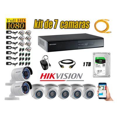 Kit 7 Cámaras de Seguridad  Full  HD 1080p Disco 1TB Vigilancia + Kit de Herramientas Gratis