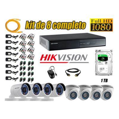 Kit 8 Cámaras de Seguridad  Full HD 1080p Disco 1TB Vigilancia + kit de herramientas Gratis