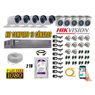 Kit 10 Cámaras de Seguridad  Full HD 1080p Disco 2TB Vigilancia + Kit de Herramientas Gratis