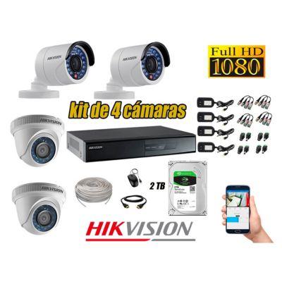 Kit 4 Cámaras de Seguridad Full HD 1080p Disco 2TB Vigilancia + Kit de Herramientas Gratis