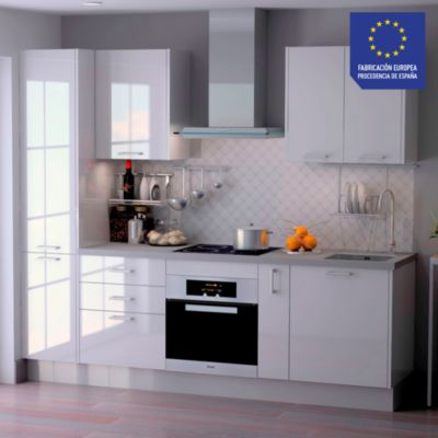 Mueble de Cocina Modular Laminado HPL 244 cm Blanco