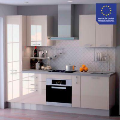 Mueble de Cocina Modular Laminado HPL 244 cm Crema