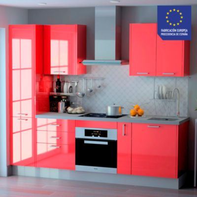 Mueble de Cocina Modular Laminado HPL 244 cm Rojo
