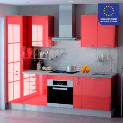 Mueble de Cocina Modular Laminado HPL 244 cm Guinda