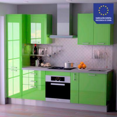 Mueble de Cocina Modular Laminado HPL 244 cm Verde