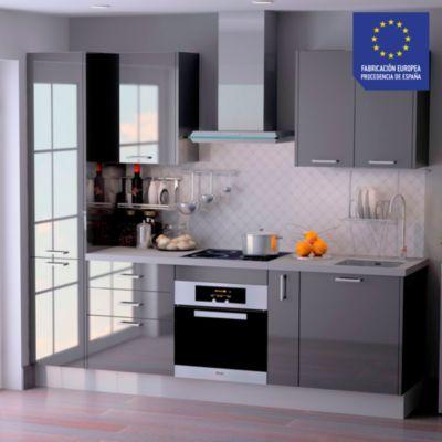 Mueble de Cocina Modular Laminado HPL 244 cm Negro