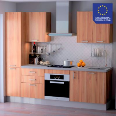Mueble de Cocina Modular Laminado DPL 244 cm Nogal Natural