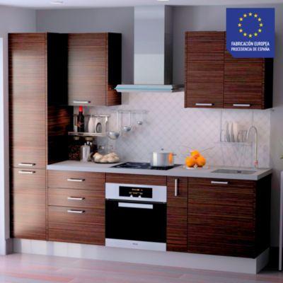 Mueble de Cocina Modular Laminado DPL 244 cm Marrón Cebra