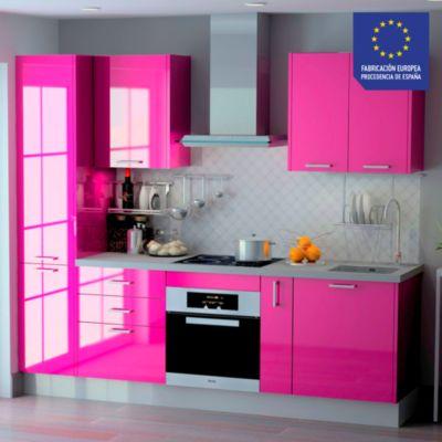 Mueble de cocina modular High Gloss 244 cm Berenjena