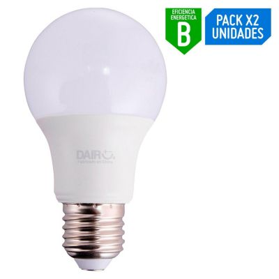 Pack x2 Foco LED Bulbo A60 7.5W E27 Luz Amarilla