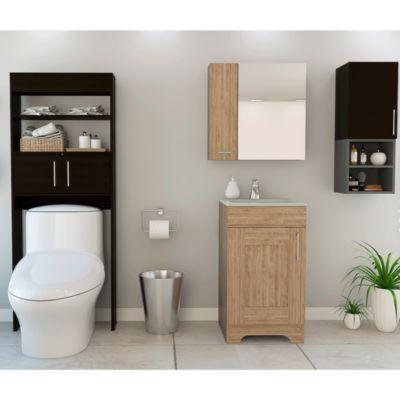 Combo My Bath Botiquin + Mueble Lavamanos + Muro + Optimizador Miel /Wengue