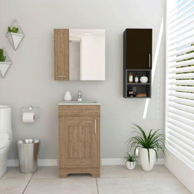 Combo My Bath Botiquin + Mueble Lavamanos + Muro Miel /Wengue