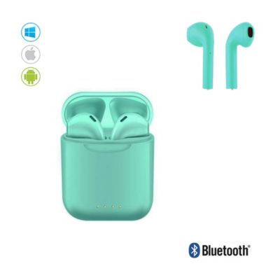 Audífonos Bluetooth Inalámbricos I88 TWS c/Carga Portátil Turquesa